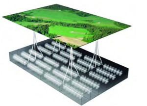 A multiwell HVHF pad. The extent to which the ground underneath is more than what many people imagine. However the extent of the infrastructure above ground cannot be underestimated either. Collectively, the technology of unconventional shale gas extraction has many varied social, environmental and economic negative impacts (image soure: peak-oil.com)