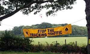 Protest against Fracking traffic and Celtique Energie drilling rig in Fernhurst West Sussex