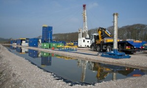 Cuadrilla shale gas drilling rig is set up for 'fracking', Weeton, Blackpool, Lancashire, in March 2012. Photograph: Alamy