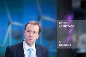 Matthew Hancock, the U.K. Conservative party's business and energy minister, pauses during a Bloomberg Television interview in London, U.K., on Monday, Jan. 5, 2015. The ruling Conservative Party is lining up investors to kick-start fracking across swathes of rural Britain, and challenge opposition from the village halls and country estates in its political heartland. Credit: Getty Images.