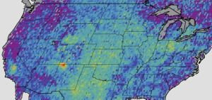 This map shows anomalous U.S. methane emissions (that is, how much the emissions are higher or lower than average) for 2003-2009, as measured by SCIAMACHY. Purple and dark blue areas are below average. Pale blue and green areas are close to normal or slightly elevated. Yellows and red indicate higher than-normal anomalies, with more intense colors showing higher concentrations. The Four Corners area is the only red spot on the map. (Credit: NASA / JPL calltech / Univesity of Michigan)